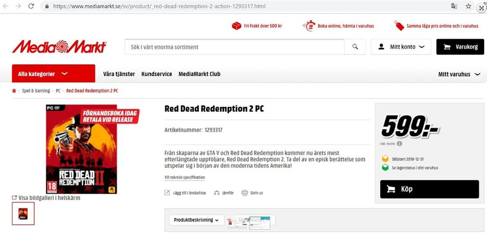 Red Dead Redemption 2 na PC z Media Markt