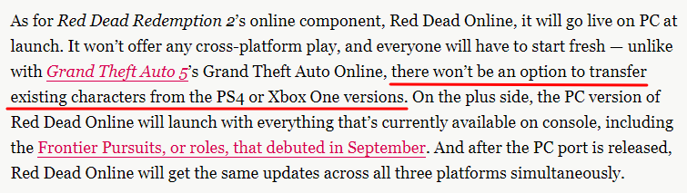 ...  there won't be an option to transfer existing characters from the PS4 or Xbox One versions.